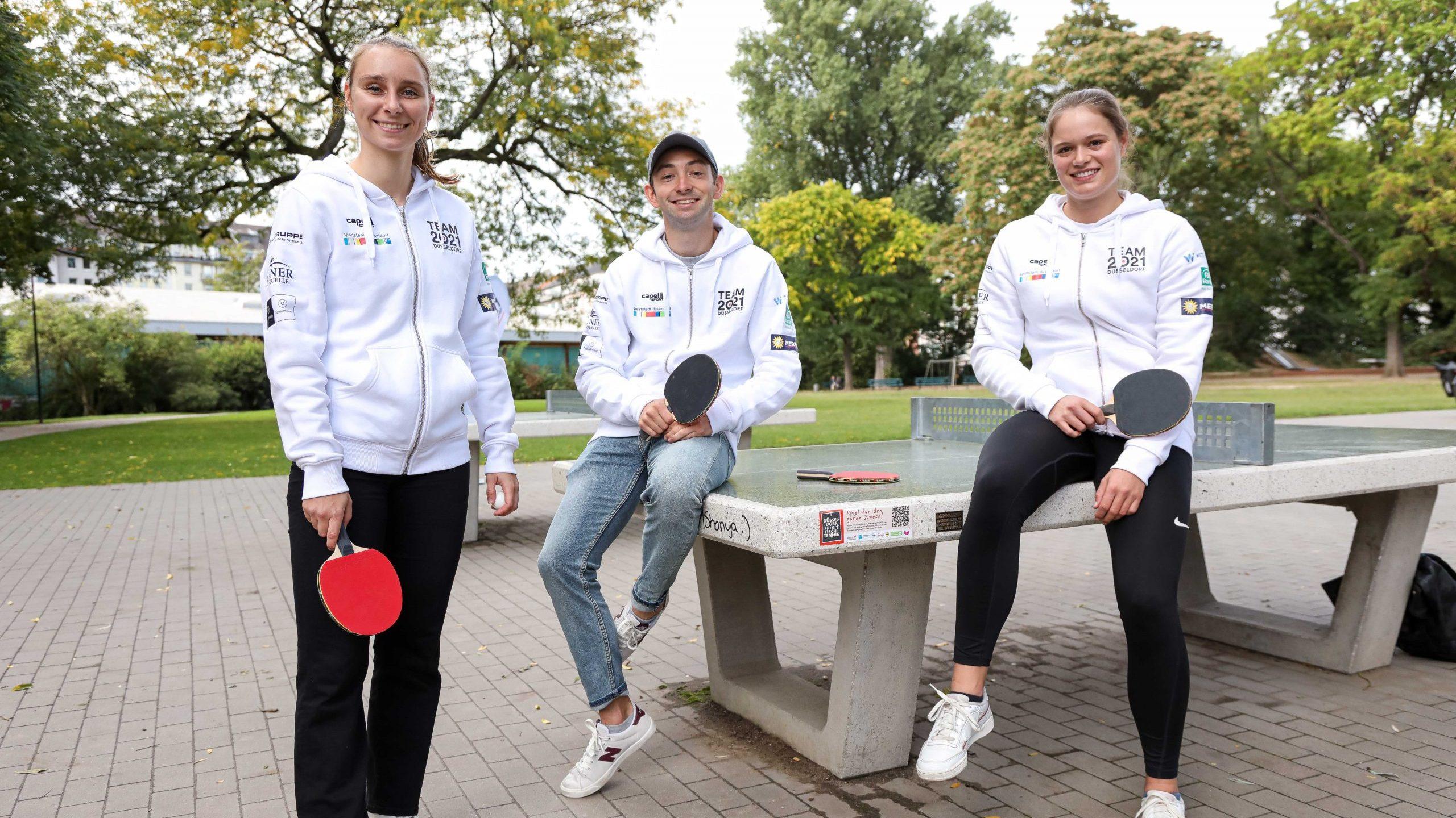 """TEAM 2021 Athleten:innen unterstützen Tischtennis-Kampagne*""""Düsseldorf spielt Tischtennis für Düsseldorf"""""""